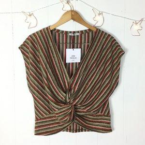 Zara Trafulac crop twist knit top L